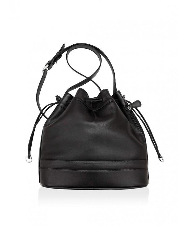 ili Leather Drawstring Crossbody Handbag