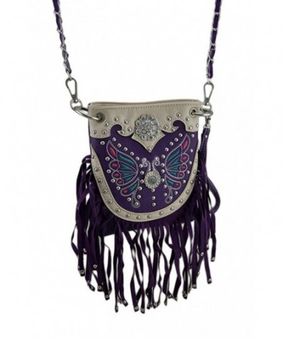 Embroidered Butterfly Fringe Western Womens