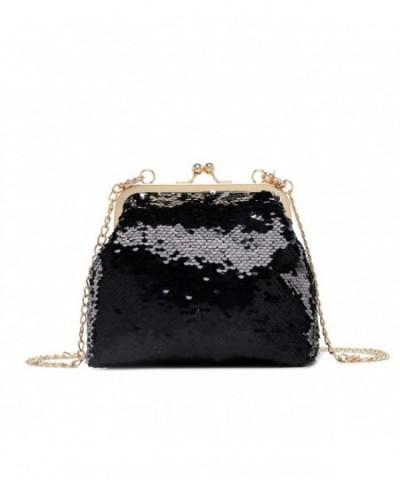 Gallery Glitter Crossbody Evening Handbags Black