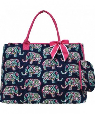 Floral Elephant Print Quilted Shopping