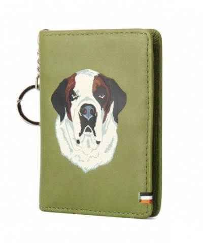 Genuine Leather Holder Bifold KeyChain Green