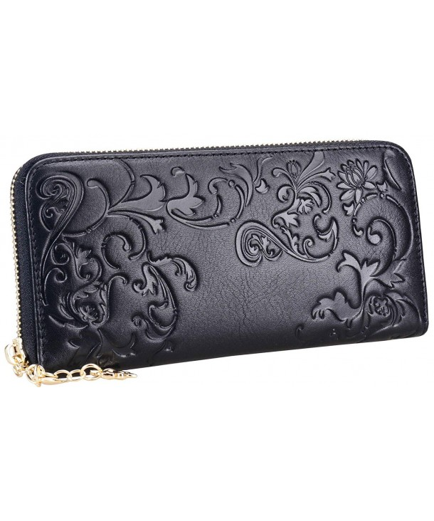 Womens Leather Wallets Holder Zippered