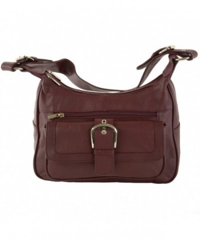 Genuine Leather Shoulder Organizer Burgundy