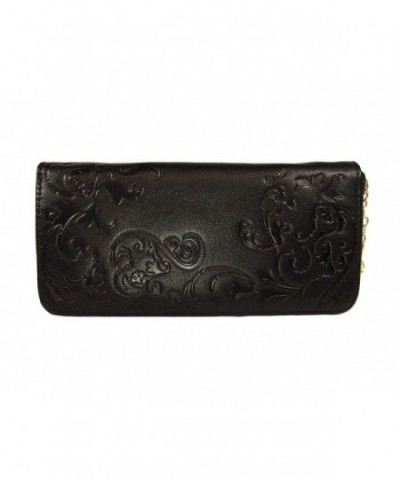 Black Leather Zip Around Wallet
