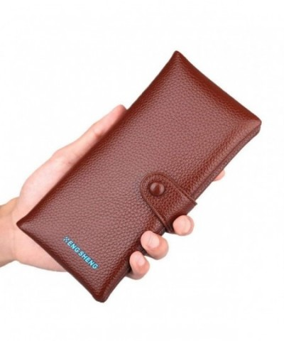 22ade3339bdb RFID Blocking Wallet For Card Casual Style With Bags Belt Loop And Genuine  Leather Wallets - Brown - CB18DN9LET3