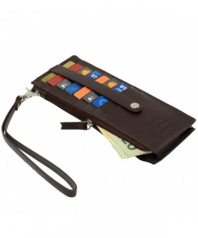 Alpine Swiss Leather Wristlet Organizer
