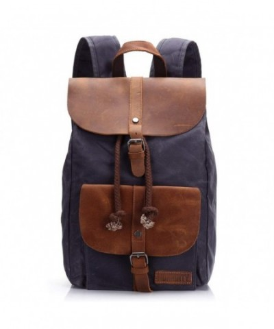 Canvas Leather Backpack Rucksack Computer