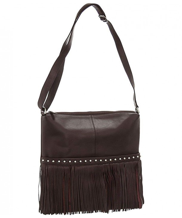 ILI Leather Fringe Hobo Handbag