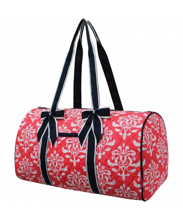 Shabby Damask Quilted Travel Duffle