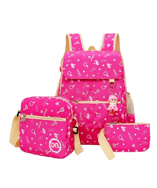 MIUCOO School Backpack Handbag C Rose