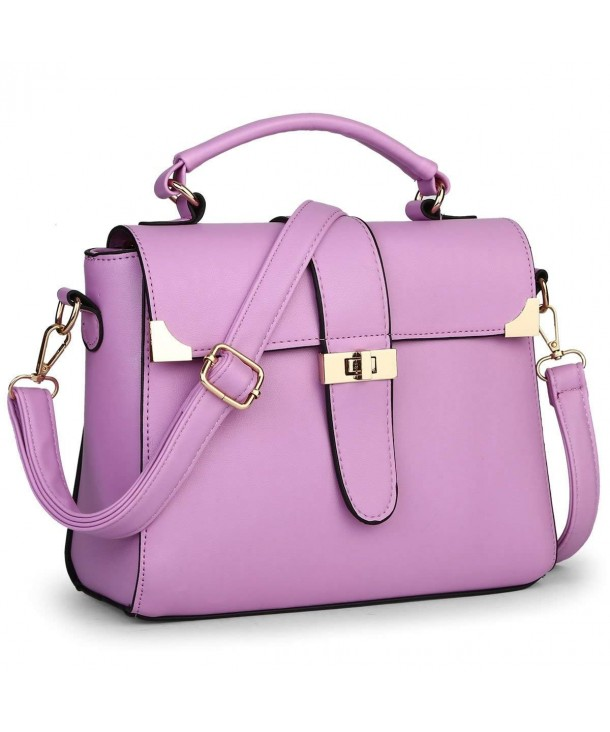 Turn lock Leather Messenger Shoulder Handbag