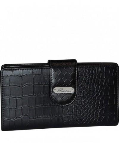 Buxton Croco Super Wallet BLACK