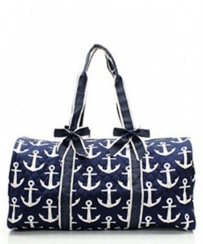Quilted Nautical Anchor Monogram Overnight