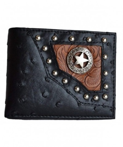 Western Ostrich Cowboy Leather Tooled