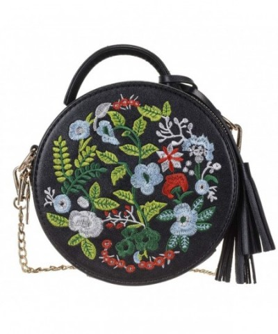 Womens Embroidered Crossbody Shoulder Handbag