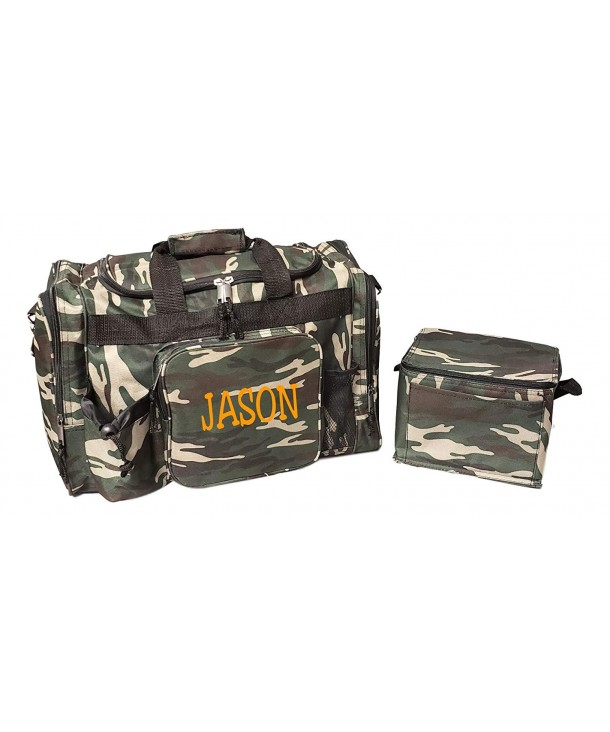 Green Camouflage Overnight Duffel Embroidery