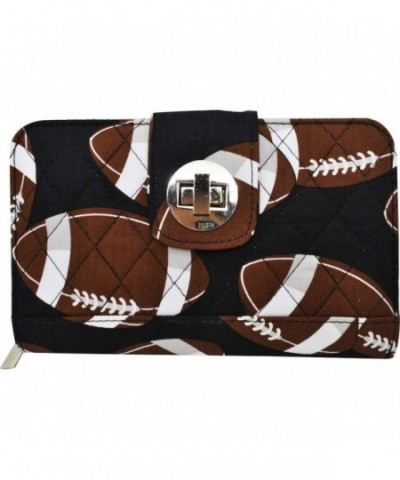 Football Print Quilted Twist Wallet