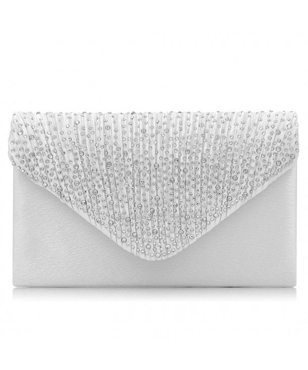 Women Evening Bag Rhinestone Envelope Clutch Party Wedding Purse Silver C418ggmu0hn