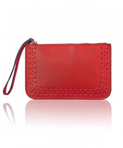 Leather Zipper Clutch Wristlet Wallet