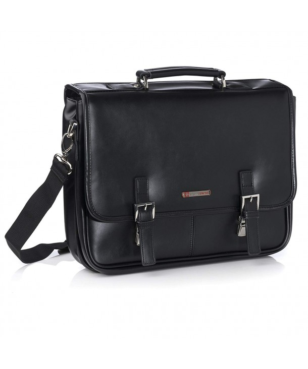 Alpine Swiss Leather Briefcase Flap Over