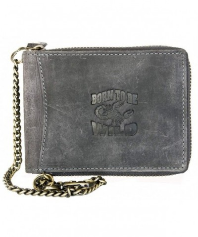 Metal Zip around Genuine Leather Wallet