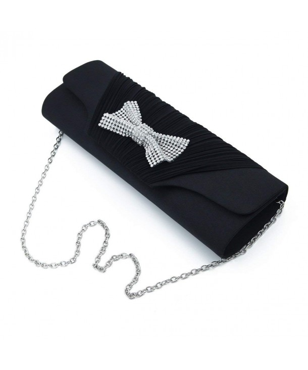Elegant Pleated Rhinestones Clutch Evening