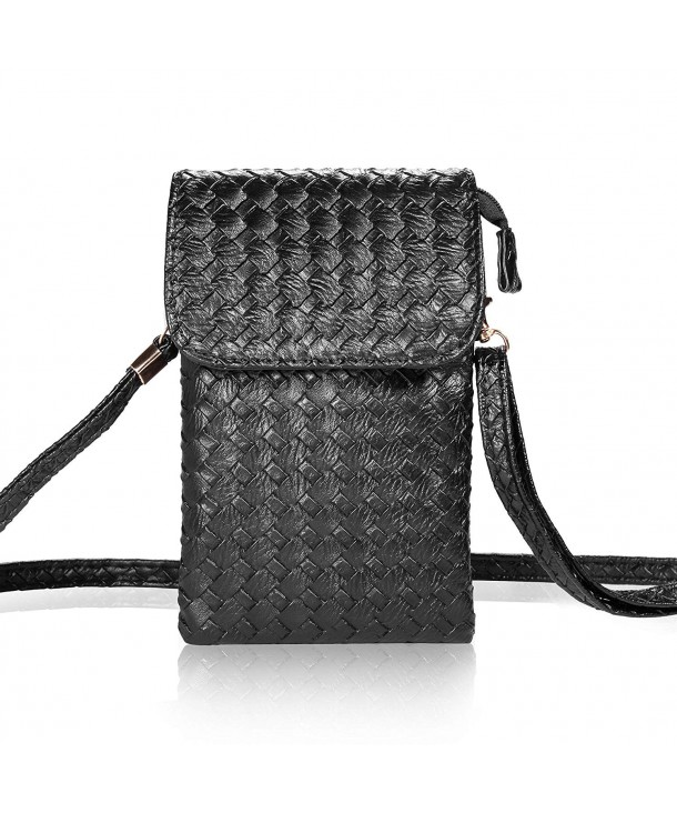 1f84e16652bc Woven Leather Cell Phone Crossbody Bag Small Purse iPhone 7 Plus 5.5inch  Cell Phones - Black - CE126YXMSDF