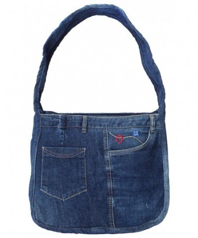 Blue Denim Shoulder Handbag Model
