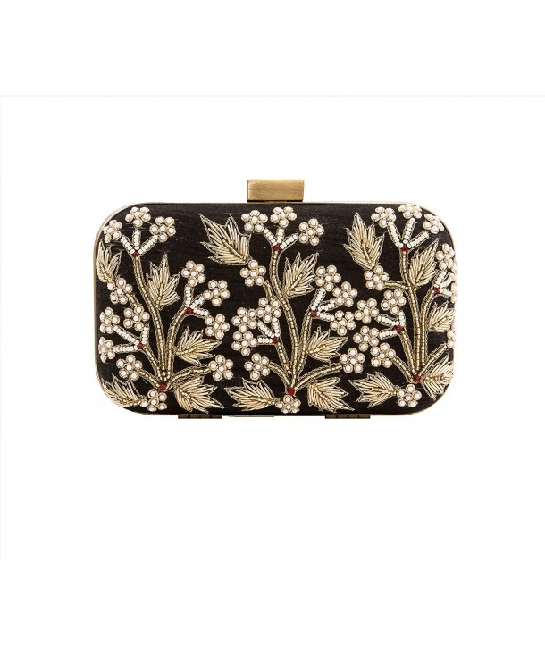 Floral Beaded Black Silk Clutch