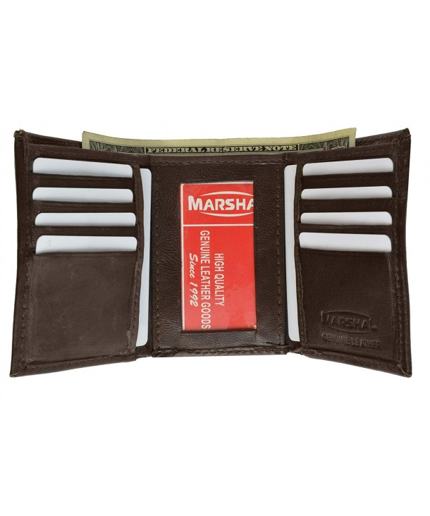 Leather Trifold Wallet Holder Brown