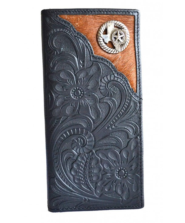 concho cowhide bifold leather wallet