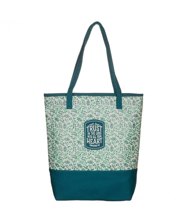 Teal Small Prints Canvas Tote