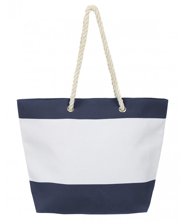 08b4d8c9b6e Large Water Resistant Canvas Beach Tote Bag - Stripe Navy Blue ...