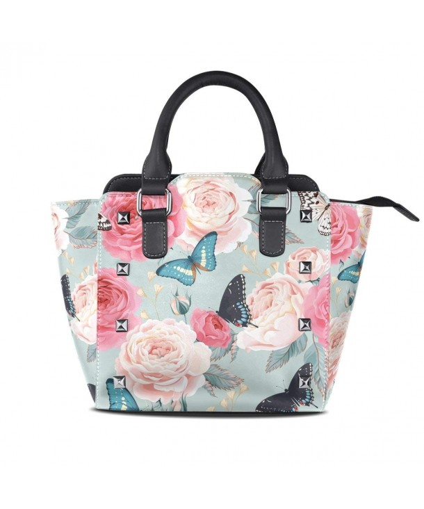 Womens Flower Butterfly Leather Shoulder