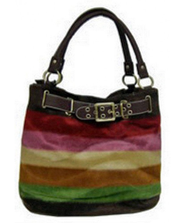 Designer Inspired Striped Purse Brown