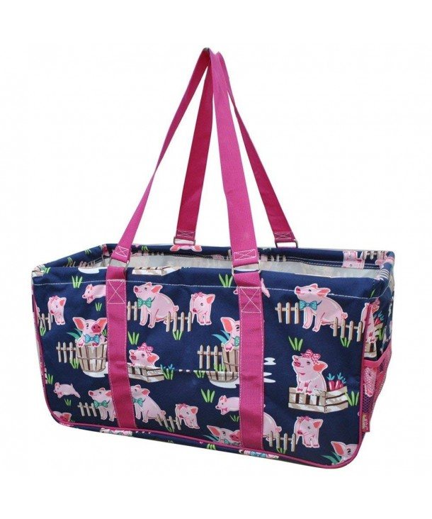 Happy Pig Town Print Utility Tote Shopping Bag C117y283hxw
