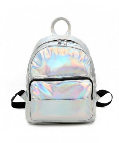 Holographic Laser Leather Backpack Silver