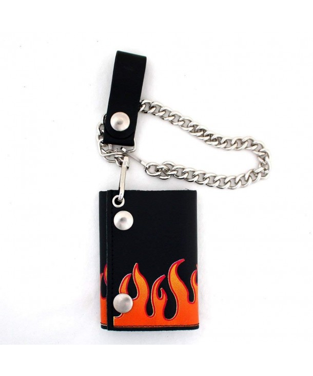 Leather Wallet Vertical Orange Flames