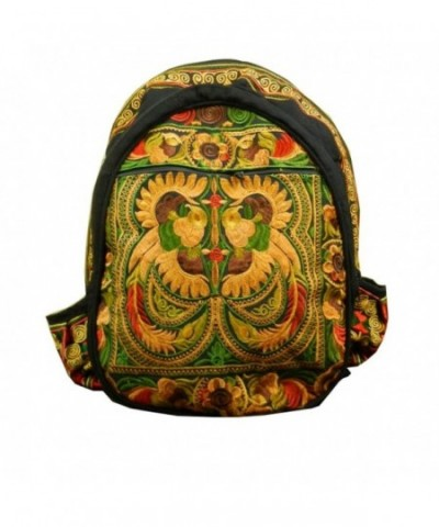 backpack ethnic embroidered fabric yellow