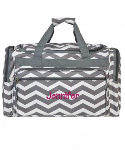 Personalized Grey Chevron Weekender Duffle