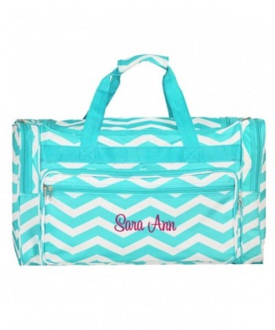 Personalized Aqua Chevron Overnight Duffle