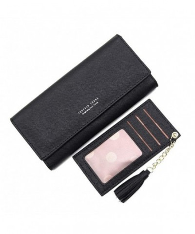 Wallets Clutch Leather Checkbook Removable