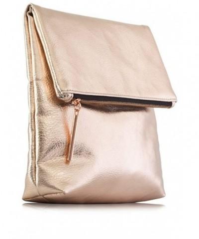 Metallic Premium Leather Clutch Zipper