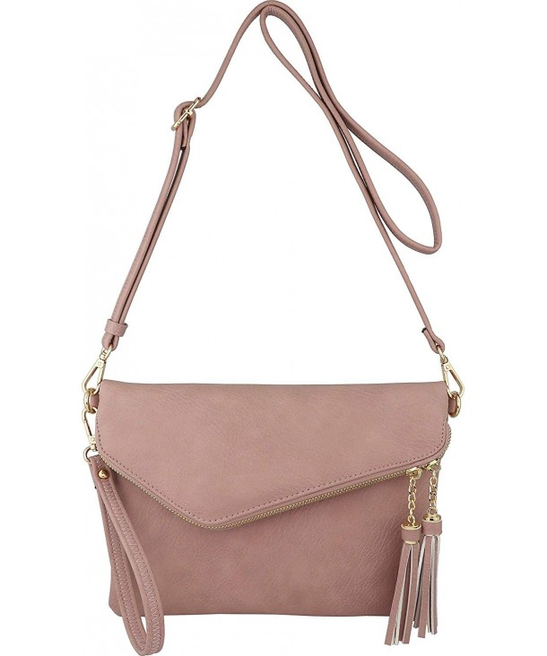 8aad63d00779 Fold-Over Envelope Wristlet Clutch Crossbody Bag with Tassel Accents -  Blush - C518H3SR5LC