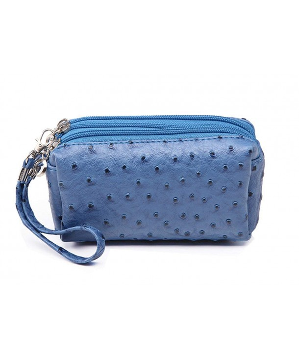 Ostrich Leather Layers Clutch Handbags