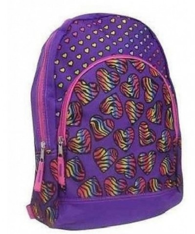 Childs Purple Rainbow Hearts Backpack