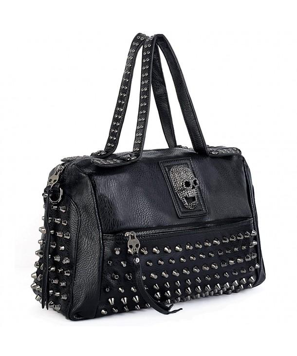 UTO Studded Handbag Leather Shoulder