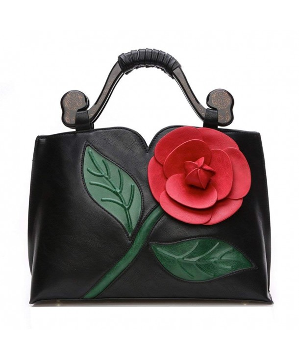 Vanillachocolate Flower Leather Handbag Wooden