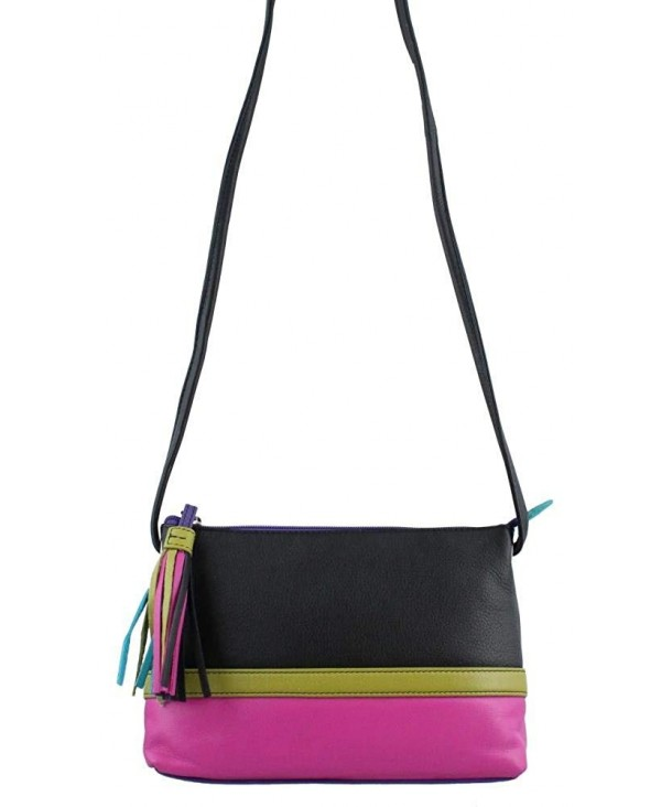 Leather Colorblock Cross body Handbag Brights