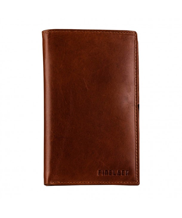 Finelaer Brown Leather Bifold Wallet